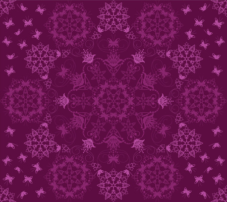 Seamless purple flowers and butterflies pattern Vector