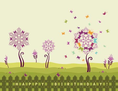 Happy birthday card met bloemen en vlinders