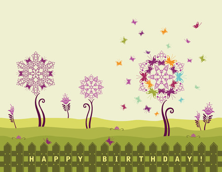 Happy birthday card with flowers and butterflies