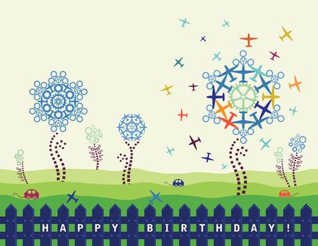 cogs: Happy birthday card con piani e ingranaggi