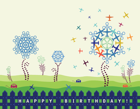 Happy birthday card with planes and cogs Vector