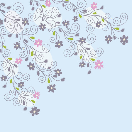 Cute light blue floral background Vector