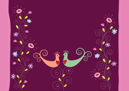 Love birds and flowers Vector