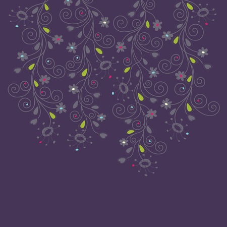 Dark purple floral background Illustration
