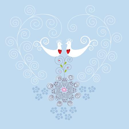Hou van vogels en hart ornament