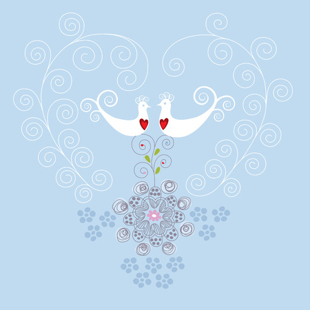 Love birds and heart ornament Illustration