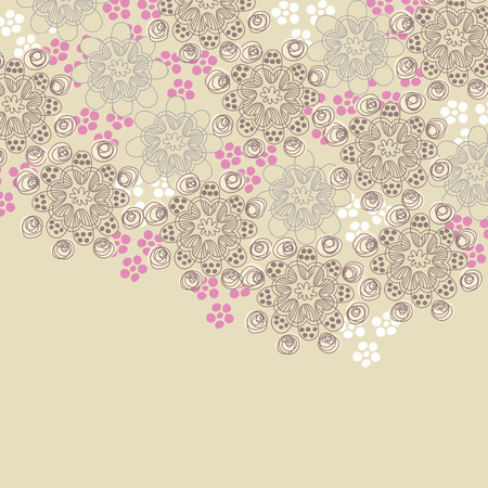 Brown and pink floral design Vector