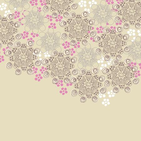 Ontwerp met bruin en roze bloemen