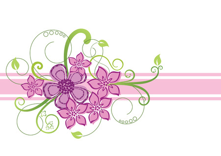 Pink floral border design Illustration
