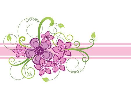 Pink floral border design Vektorové ilustrace