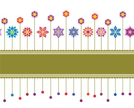 Seamless colourful floral retro border or wallpaper Vector
