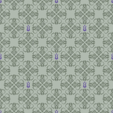 Seamless green and purple floral wallpaper Vector
