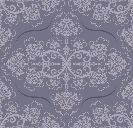 Seamless luxury grey floral wallpaper Vector