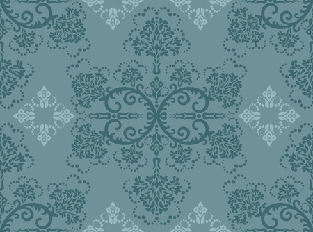 Seamless turquoise floral wallpaper Vector