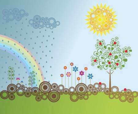 raining background: Retro style garden
