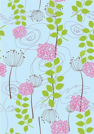 Rose, dandelion and flower wallpaper Vector