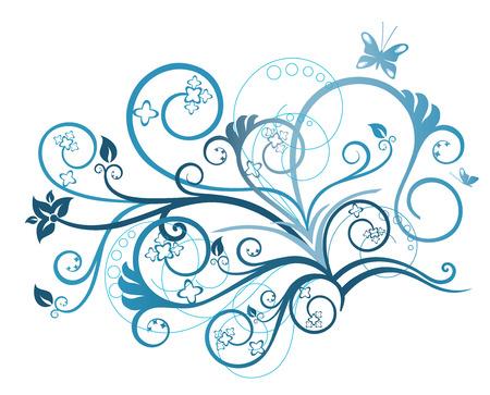 アクアマリン: ターコイズ ブルーの花柄のデザイン要素  イラスト・ベクター素材