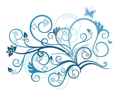 turquesa color: Elemento de dise�o floral turquesa