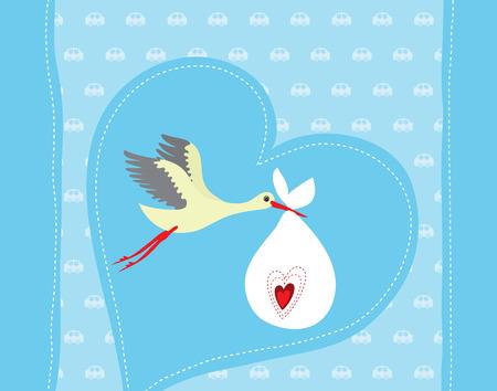 Baby boy arrival announcement card Illustration