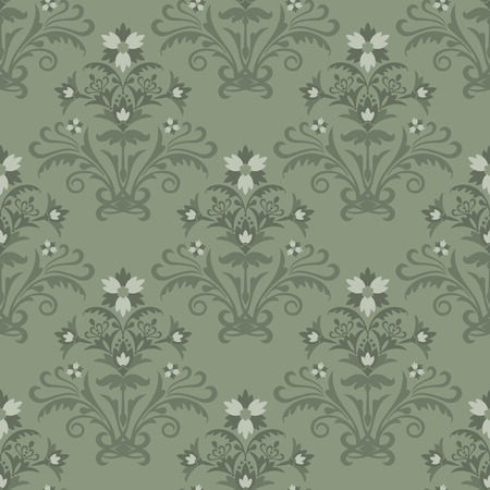 Seamless green floral wallpaper Stock Vector - 6430275