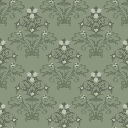 Seamless green floral wallpaper Stock Vector - 6430275