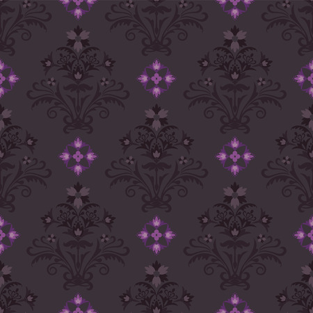 Seamless brown and pink floral wallpaper Vector