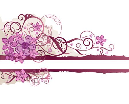 Pink floral grunge banner  Stock Illustratie