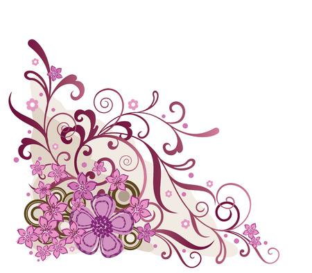 Pink floral corner design element Vector