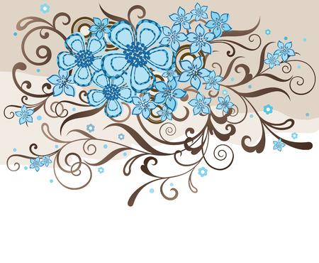 アクアマリン: ターコイズ ブルーとブラウンの花柄のデザイン