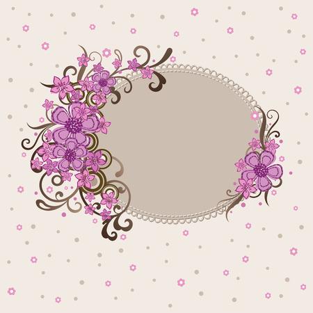 Decoratieve roze bloemen rand  Stock Illustratie