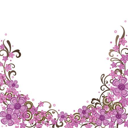 Decoratieve rand van roze bloem Stock Illustratie