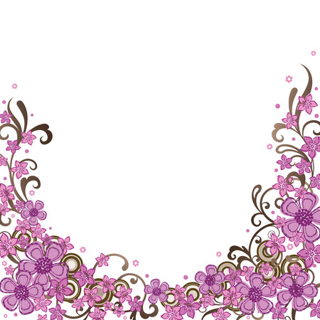 Decorative pink floral border 版權商用圖片 - 6576179
