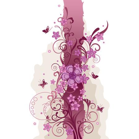 bordures fleurs: Bordure rose de fleurs et de papillons Illustration