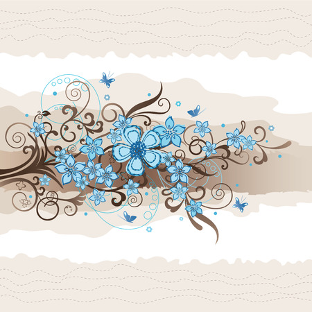 Floral turquoise greeting card Vector