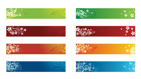 Decorative seasonal web floral banners Illustration