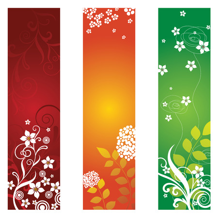 three leaves: Three beautiful floral banners Illustration