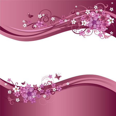 flores fucsia: Dos fronteras florales rosas Vectores