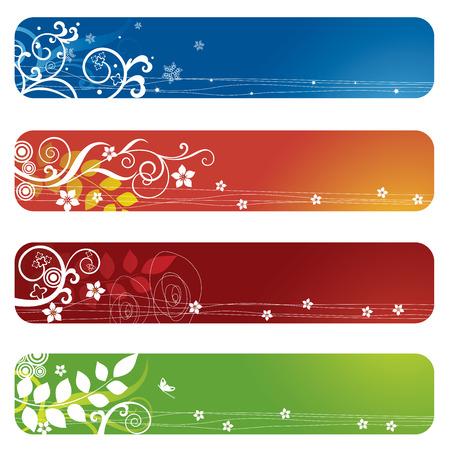 marcadores de libros: Cuatro pancartas florales o marcadores
