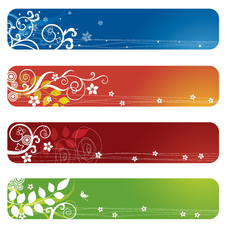 Four floral banners or bookmarks