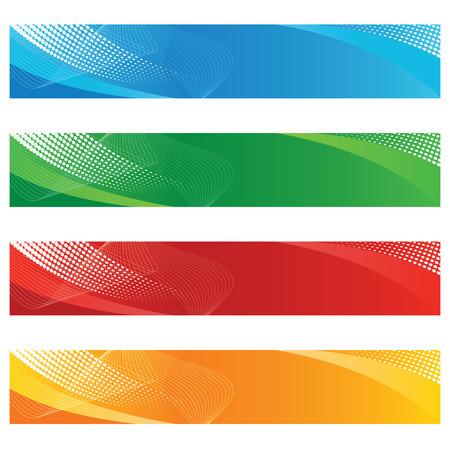 Digitale vaandels in halftoon en gekromde lijnen Stock Illustratie