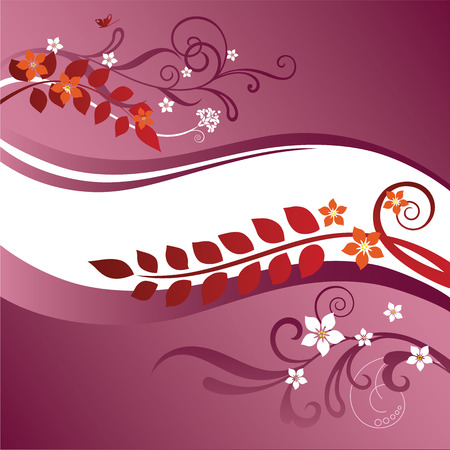 Two pink and red floral borders Vector