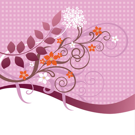 Pink and orange floral ornament Stock Vector - 6742071