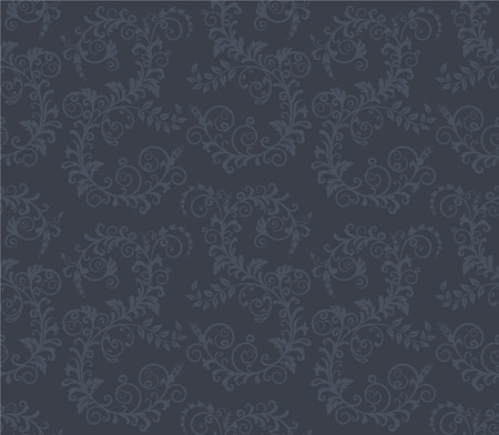 Seamless dark grey floral wallpaper