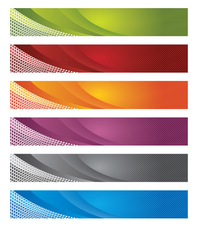 Set of digital banners in gradient and lines Stock Illustratie