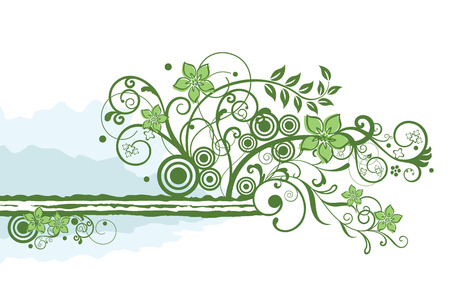 Groene bloem rand element