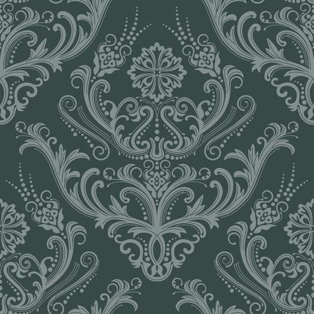 amazing wallpaper: Lusso verde floreale damascate wallpaper