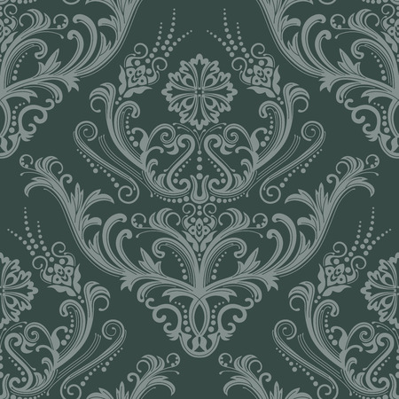 Luxury green floral damask wallpaper Vector