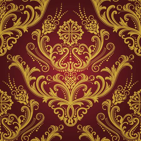 Luxe rode & gouden bloemen ademd behang  Stockfoto - 7120223