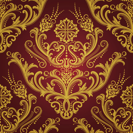 r�p�titif: Luxe rouge et or floral damass�s wallpaper
