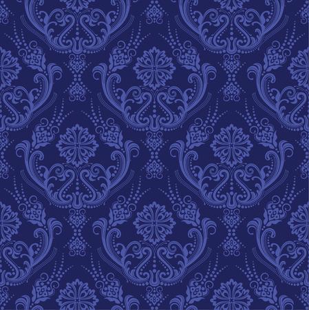 豪華な青い花のダマスク織の壁紙